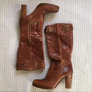 Coach Maxene Whiskey Leather Heeled Boot, 7.5B